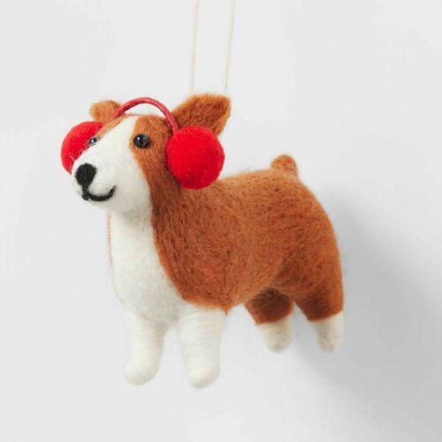 NWT Pembroke Welsh CORGI Christmas Ornament Felted w/ Red Earmuffs