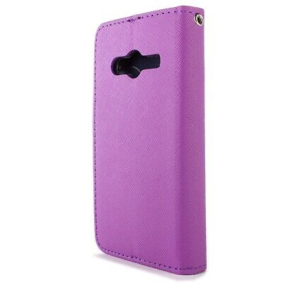 For Samsung Galaxy Ace NXT Wallet Case Purple Navy Folio Screen Protector Pouch for sale  Shipping to India