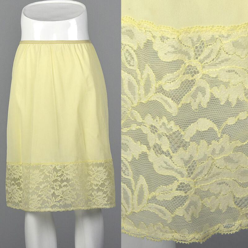 S 1950s Pastel Yellow Half Slip Lace Hem Pillow Tab Lingerie Lounge Sleep 50s