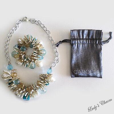 Carolee Set Bracelet - NEW CAROLEE DESIGNER FAUX CORAL PEARL CRYSTAL BEAD CHAIN NECKLACE BRACELET SET