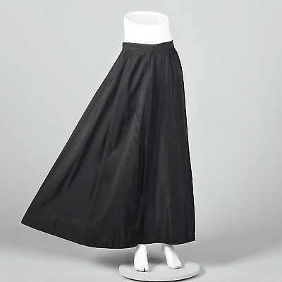 M 1950s Black Taffeta Formal Maxi Skirt Evening Wear Cocktail Party Outfit 50s ()