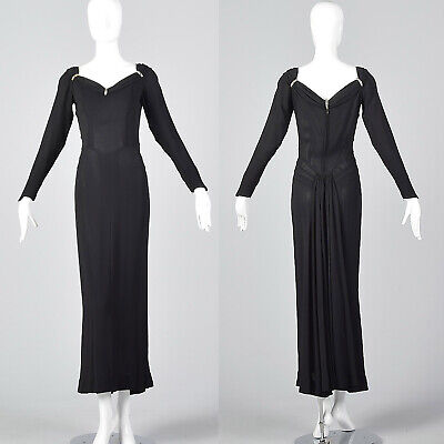 S 1940s Formal Black Dress Long Sleeve Morticia Addams Femme Fatale Gown Train