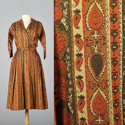 XS 1960s Orange Green Shirtwaist Dress Thanksgiving Outfit - Thanksgiving Dress