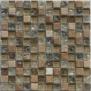 glass stone tile mosaic 1 x1 light brown frost glass