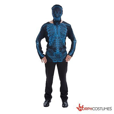 SALE Mens BLUE Skeleton Fancy Dress Costume Top & Mask L Cheap Adult Halloween