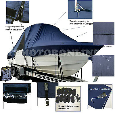 Angler 2100WA 21' Walk Around Cuddy Cabin Fishing T-Top Hard-Top Boat Cover Navy