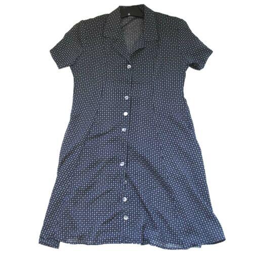 Vintage Black Button Down 1960s 70s Conservative Button Down Shirt Dress w/ Belt