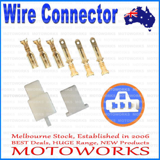 3 Pin Male Female Wire Connector Plug Socket PIT PRO QUAD DIRT BIKE ATV BUGGY