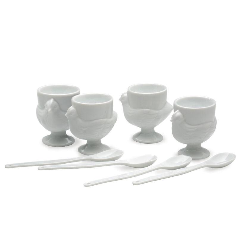 RSVP Porcelain Egg Cups & Spoons Set of 4