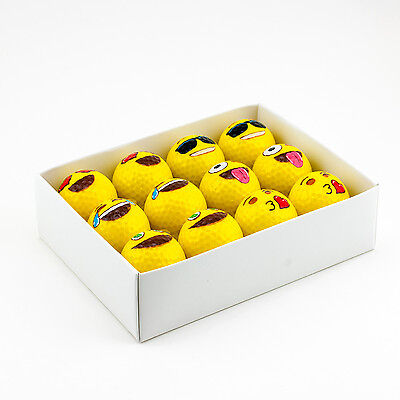 12pk Yellow EMOJI Novelty Sports Golf Balls Holiday Gift Set White Elephant Gift](Novelty Golf Balls)