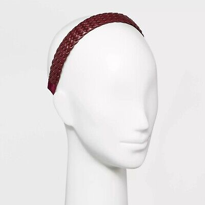 Basket Weave Faux Leather Headband Royal Burgundy by Wild Fable for Women/Teens Faux Leather Headband