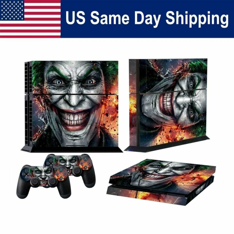 PS4 Sticker Skin Cover Decal Playstation 4 Console + 2 Controller Joker Bat-man