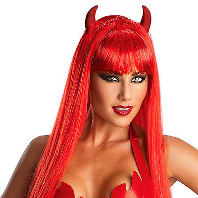 Costume Red Wig (Flaming Red Wig Fake Hair Bangs Long Straight Devil Horns Halloween Costume)