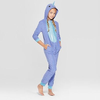 NARWHAL Fleece HOODED Pajamas Girl Child 12-16 Union Suit One Piece PJ Costume - Narwhal Costume