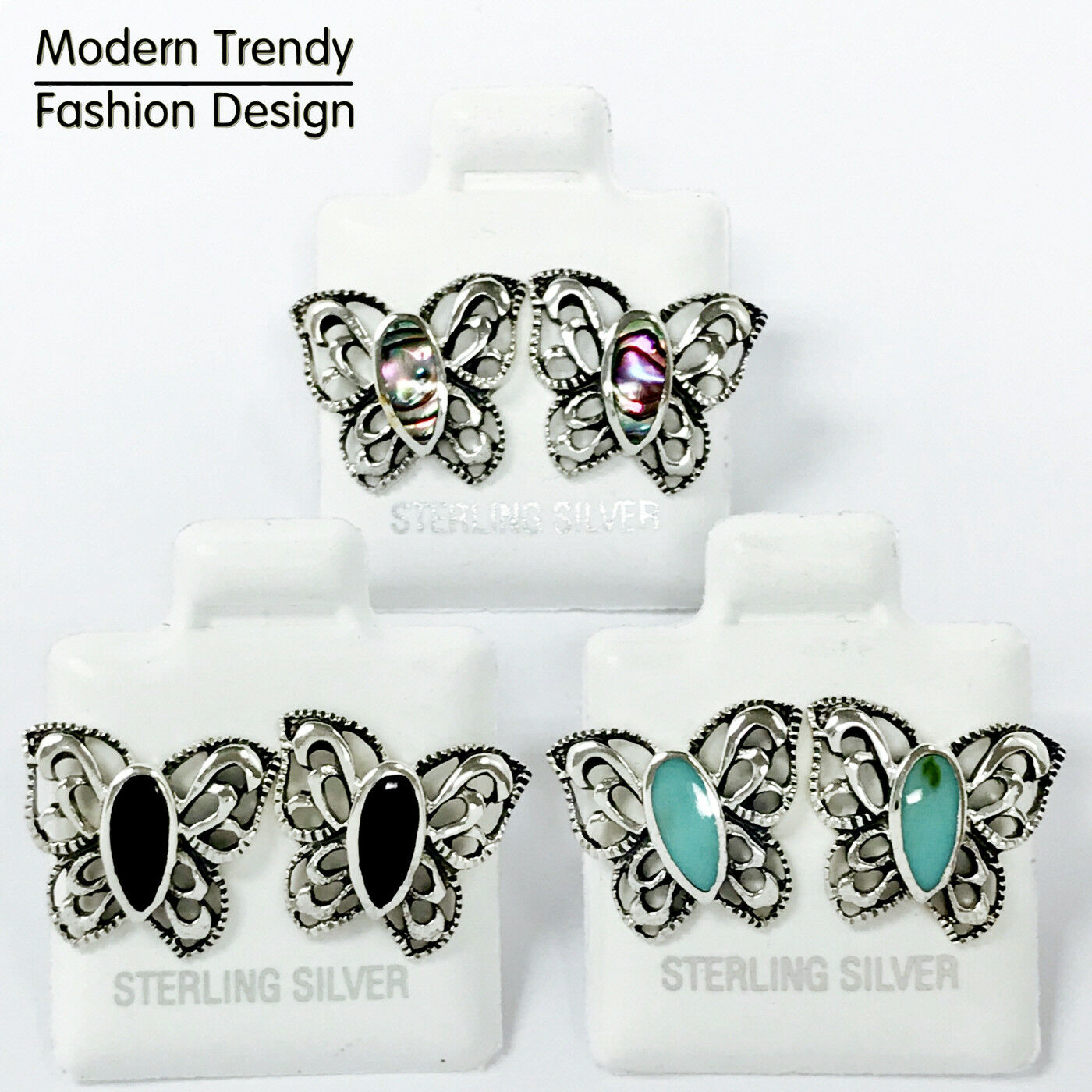 672f57499633a Details about Filigree Style Butterfly Stud 925 Sterling Silver Post  Children Women Earrings