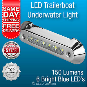 Underwater Boat Light LED Submersible Transom Light Blue Stainless Waterproof