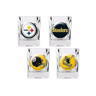 Pittsburgh Steelers Shot Glass Set NFL 4 Glasses 2 oz Gift Player Retro ()