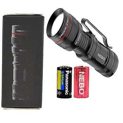 Nebo 6272-A Micro Redline OC LED Flashlight with Extra Panasonic CR123A Battery