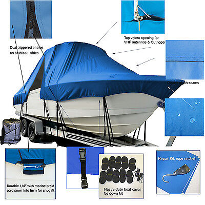 Angler 220WA 22' Walk Around Cuddy Cabin T-Top Hard-Top Boat Cover Blue