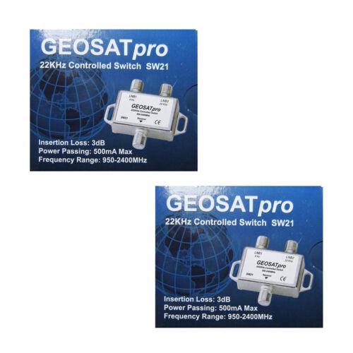 2 Pieces GEOSATpro 22KHz Tone Controlled Switch 0/22KHz 2x1 Switch FTA SW21