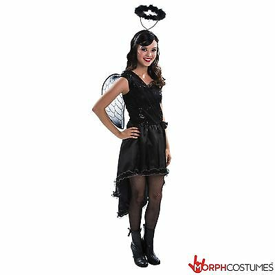 Girls TEEN Black Fallen Angel Halloween Fancy Dress Costume Tween Scary Fairy