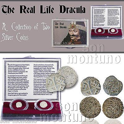 Real Dracula  2 Antique Silver Coins Vlad Impaler Parvus Denar Matthias Corvinus