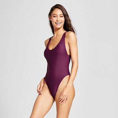 Mossimo Women's High Leg Scoop Back One Piece - Merlot Purple #t38