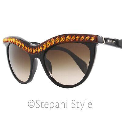 4c0ad5b293e55 Prada Sunglasses SPR04P NAC-6S1 Shiny Black Amber 04PS