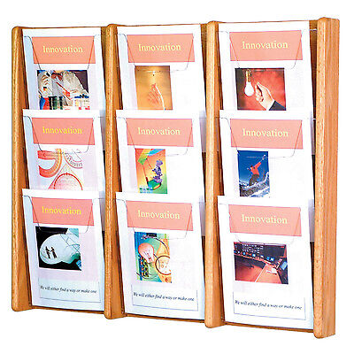 Wooden Mallet Ac26-9 Light Oak 9 Slot Magazine Display Rack