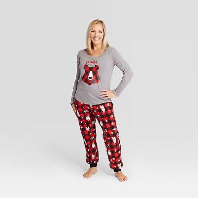 Womens Christmas Holiday Mama Bear Red/Black Plaid Fleece 2 Piece LS Pajama - Red Plaid Christmas Pajamas