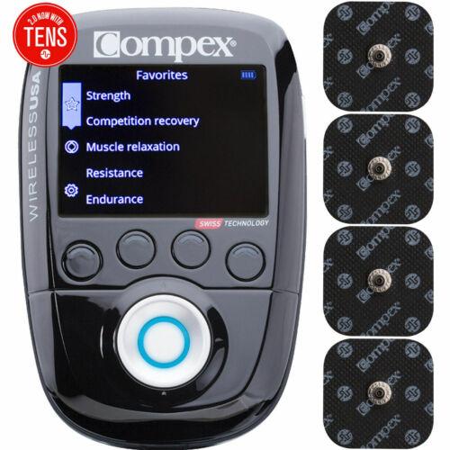 Compex Wireless USA 2.0 Muscle Stimulator Tens Unit Kit TENS + EMS 10 Programs