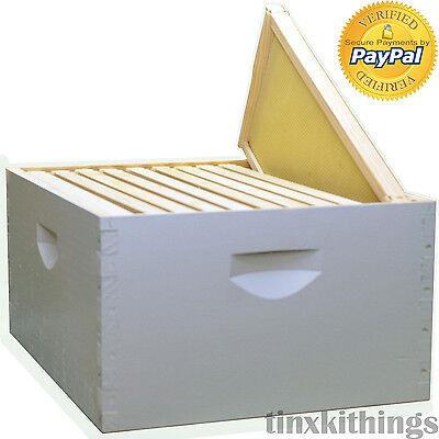 Bee Hive Frame Kit Set Painted Wood 10pc Assembled 9-58 Wax Honey Keeping Box