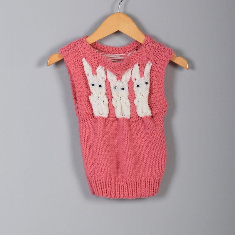 1950s Girls Pink Knit Sweater Bunny Rabbits Sleeveless Boat Neck Knit Vest 50s