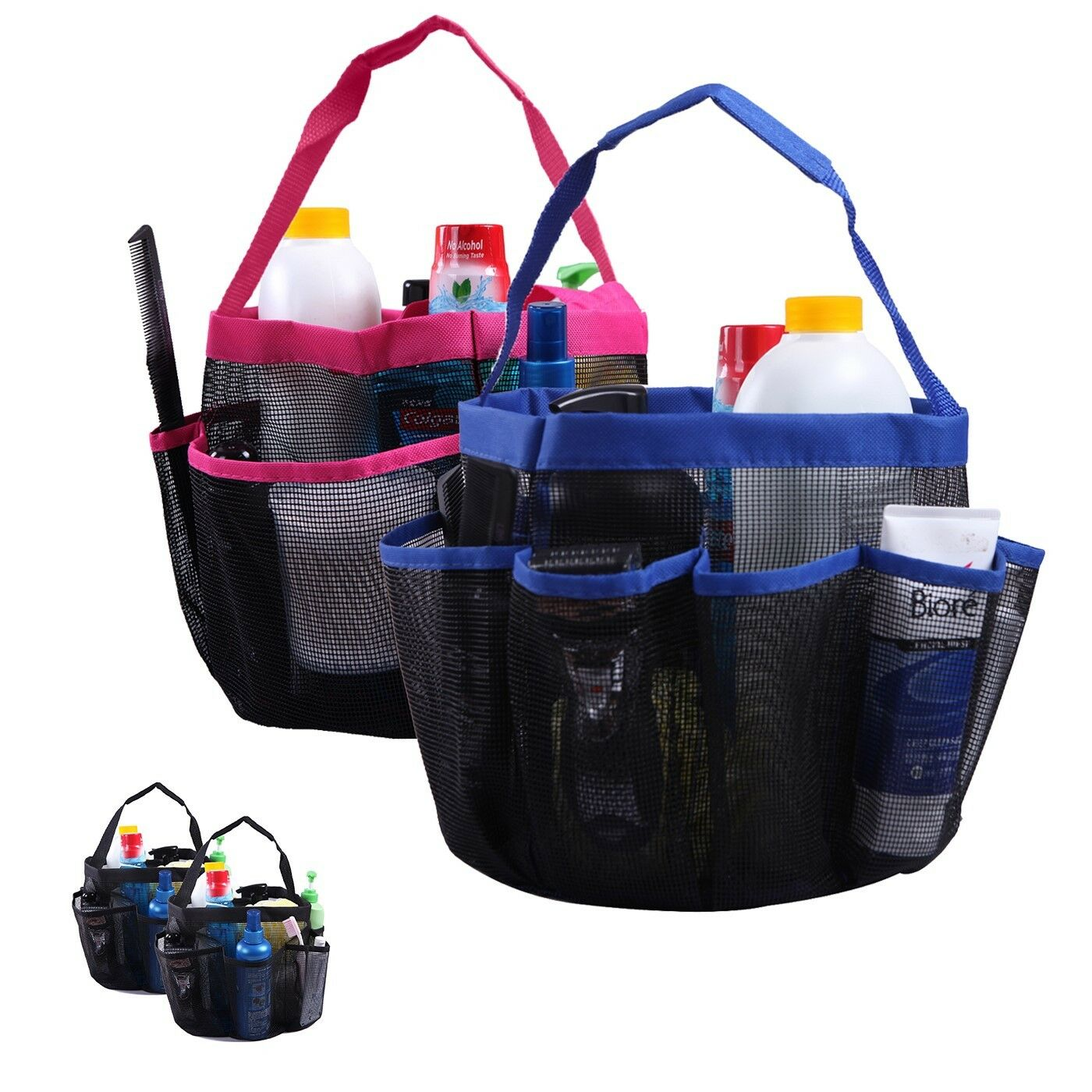 Shower Caddy Mesh Bag College Dorm Bathroom Gym Tote Organizer (2 ...