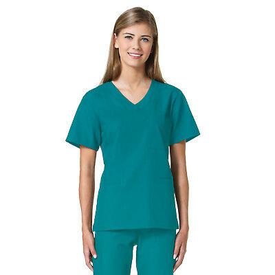 Maevn Women Teal Scrub Top 1626 Core 3 Pocket Curved V-Neck Sizes XXS to -