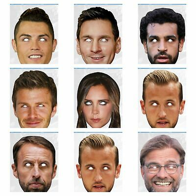 Footballers Face Masks Hen & Stag Party Fancy Dress Fun Party wear Famous - Famous Face Masks