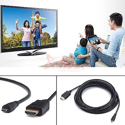 16FT 1080P Micro HDMI to HDMI Male Adapter Cable Cord for Phone Tablet Camera TV