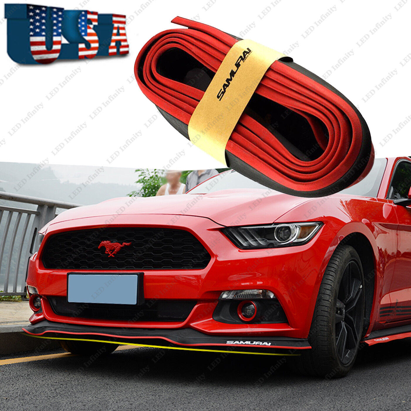 Universal 8FT Black Red Samurai Bumper Lip Splitter Chin Spoiler Body
