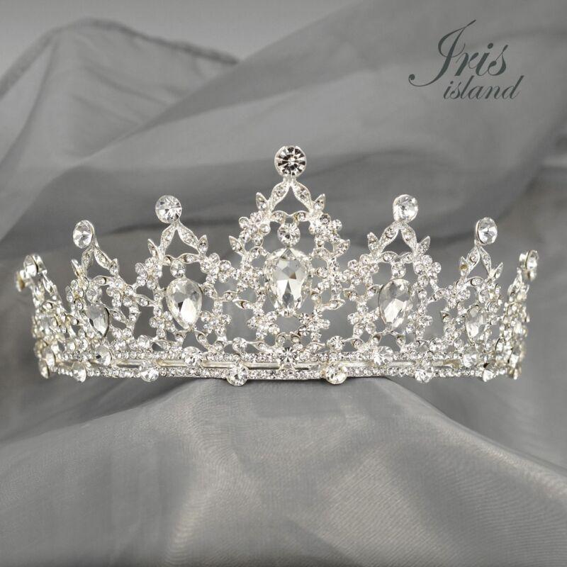 Gorgeous Clear Austrian Crystal Rhinestone Tiara Crown Bridal Party Pageant 5437