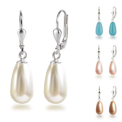 mit Swarovski® Pearls Perlen Ohrhänger Tropfen Farbwahl (Perlen Ohrringe Tropfen)