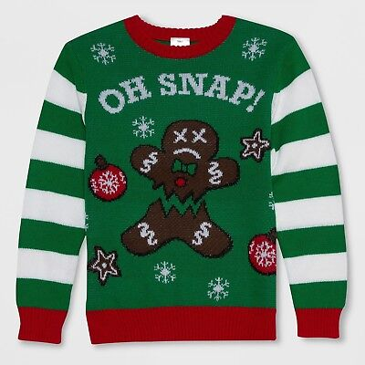 NWT Boys Oh Snap Gingerbread Man Holiday Pullover Ugly christmas Sweater XS or M](Boys Ugly Christmas Sweater)