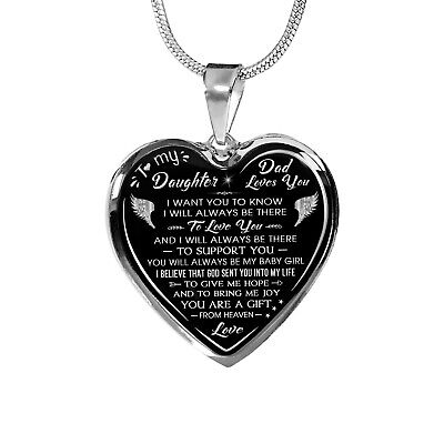 Dad and Daughter Luxury Necklace Gift Ideas from Father Daddy Papa for Birthday ()