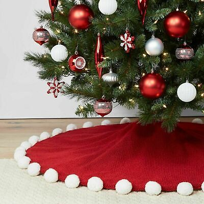 Wondershop Red Acrylic, Polyester Pom Pom Christmas Tree Skirt 48″x48″ Target