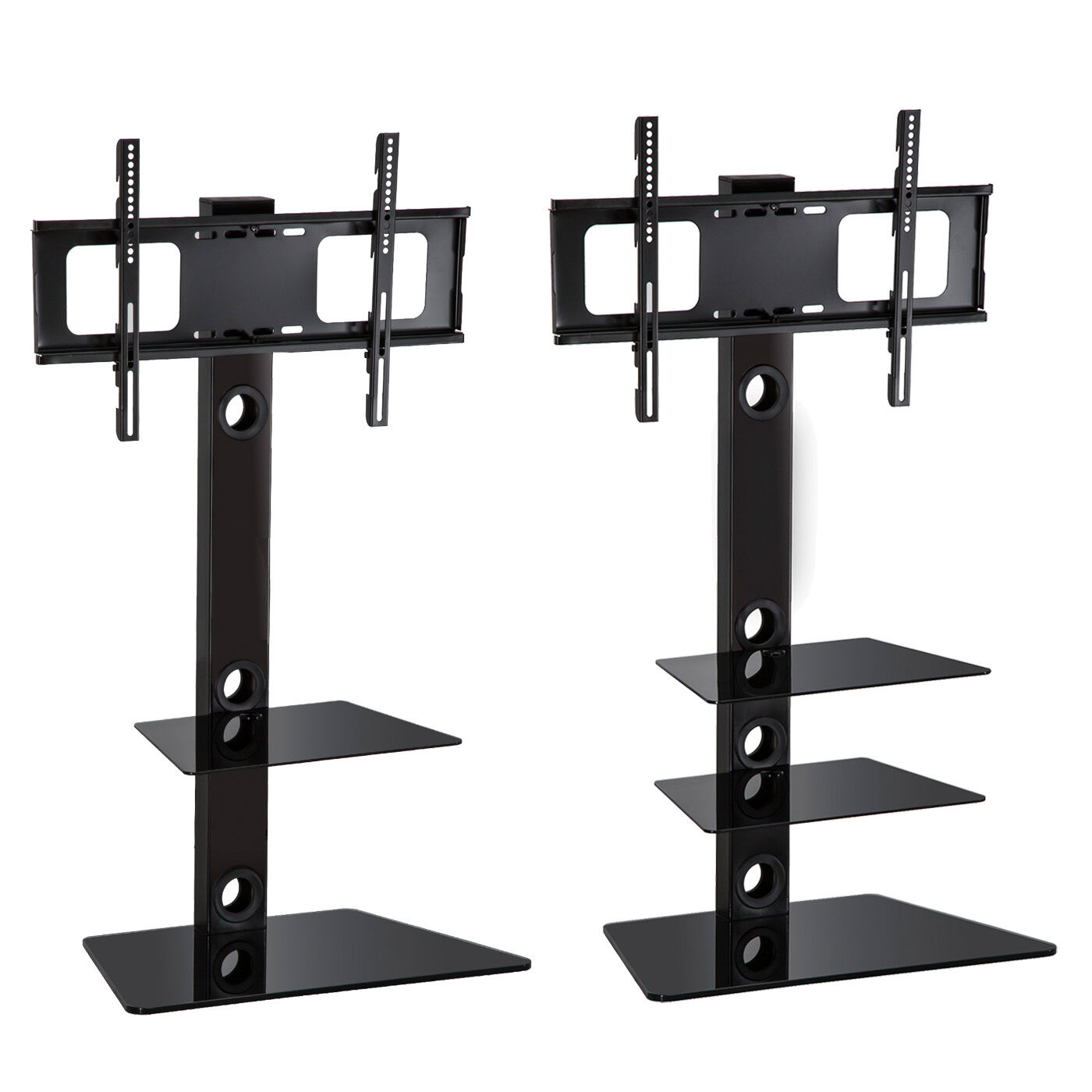 Glass TV Stand with Bracket 2 3 Shelves for 27 to 55 inches Plasma LCD LED 3D TV