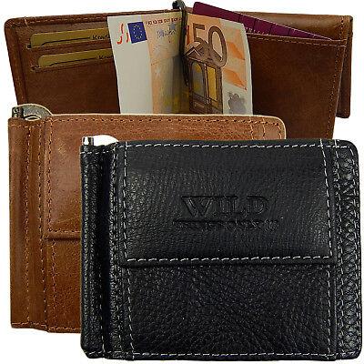 Portemonnaie Geldbeutel mit Scheinklammer Leder Geldbörse Dollarclip Klappbörse - Geldbörse Mit Geld-clip