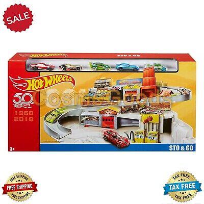 MATTEL Hot Wheels Throwback STO & GO Retro Service Center 5-Car Playset Kids Toy