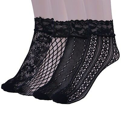 Womens Fishnet Socks Sheer Lace Hollow Out Black Ankle Cuff Fashion (4 Pack)
