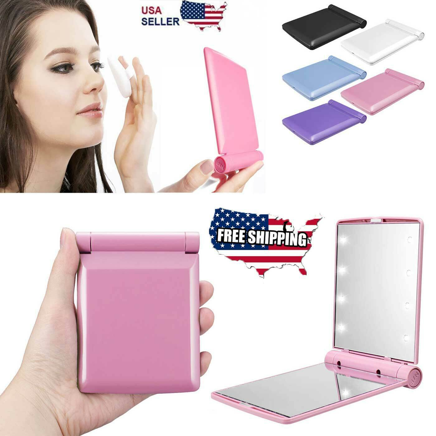 Makeup Compact Mirror Cosmetic Folding Portable Pocket with 8 LED Lights Lamps Health & Beauty