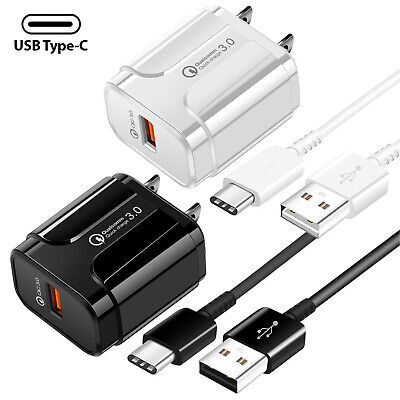 Samsung Galaxy Note8 9 S8 S9 S10 Plus Fast Charge USB Wall Charger +Type-C Cable