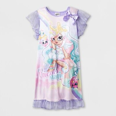 Shopkins Shoppies 'Unicorn Magic' Girls Lilac Short Sleeve Nightgown XS, S, M, L](Wizard Gown)